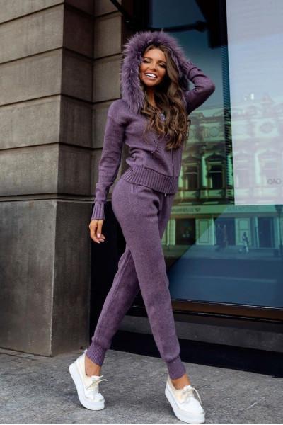 Комплект брюки и джемпер с капюшоном фиолетовый