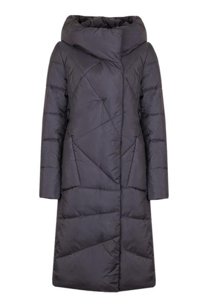 Зимнее стеганное пальто на тинсулейте черное