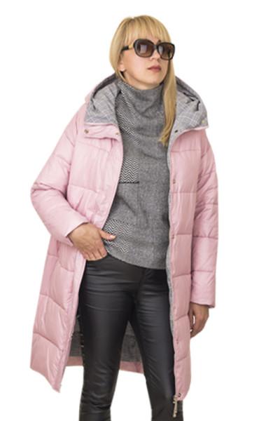 Розовое зимнее пальто с капюшоном