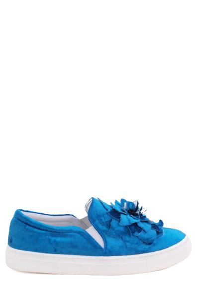 Бархатные туфли на низком ходу Aquamarin синие