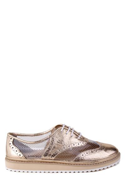 Женские туфли на низком ходу на шнурках Tucino золотого цвета