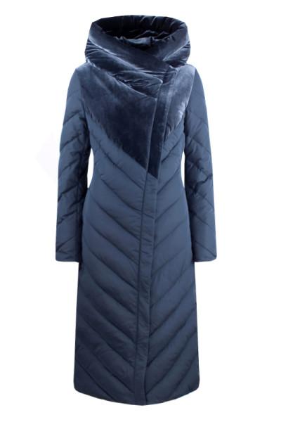 Зимнее стеганое пальто с капюшоном из бархата