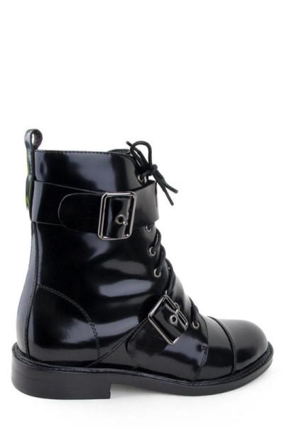 Высокие женские ботинки Basconi черная лаковая кожа
