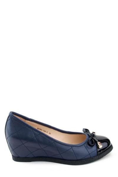 Кожаные женские туфли на танкетке Basconi синие