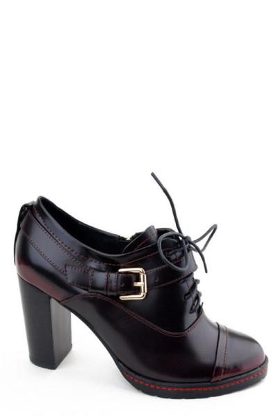 Черные ботильоны на шнуровке на каблуке Basconi натуральная кожа