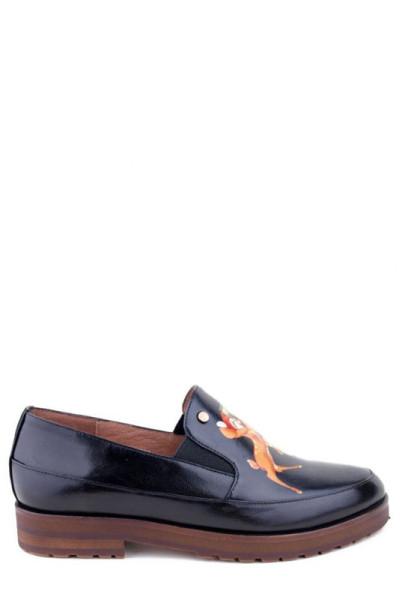 Женские туфли на низком ходу Basconi кожа черного цвета