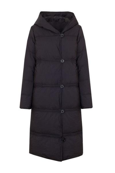 Черное зимнее пальто с отстегивающимся низом
